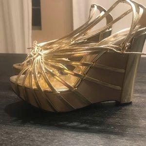 Christian Dior metallic leather wedge sandals